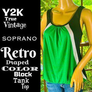 🆕VTG▪️SOPRANO▪️ Y2K Retro Draped Color Block Tank